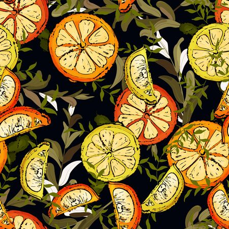 Vintage leave fruit seamless pattern in hand drawn style. Watercolor halves and slices of oranges and lemons with green branches on a dark background. Jungle design of tropic foliage, beach print. Stock Illustratie