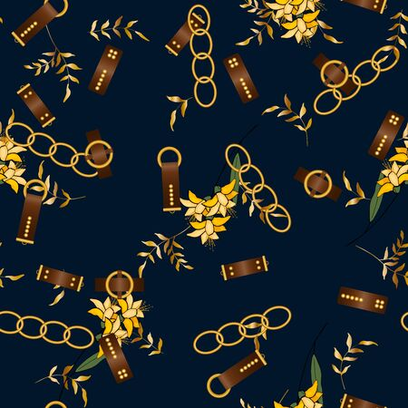 �¡hain seamless vector pattern on dark background with and fashion floral design. Vintage gold jewelry of necklace and rustic ropes, tassels and belts with leaves  Stock Illustratie