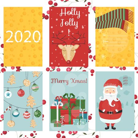 Merry Christmas greeting card, santa, deer, Xmas decoration, retro designs. Holiday themed patterns. Vector cheese 2020 concept Stock Illustratie
