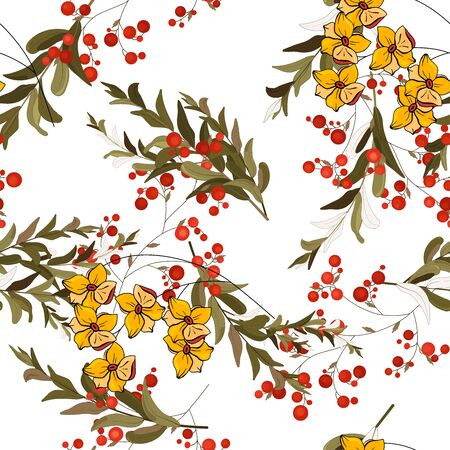 Retro wild seamless floral pattern. Vintage blooming realistic flower print. Little yellow daisies with red berries and branches of herbs on a white background. Hand drawn vector illustration. Stockfoto - 134879025
