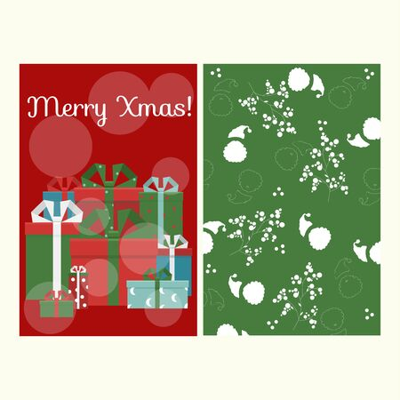 Merry christmas greeting card set, vector isolated background. Red decoration holiday elements. New year and xmas celebration design with gifts. Winter party texture.