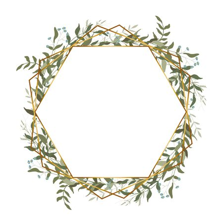Greenery rhombus wreath in watercolor style, vintage geometric frame with leaves, foliage and botanical wedding elements. Hand drawn green eucalyptus, chamomile, isolated template vector illustration.