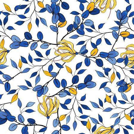 Hipster travel leaf seamless pattern. Hand drawn vector background. Vintage blue and yellow lily floral print