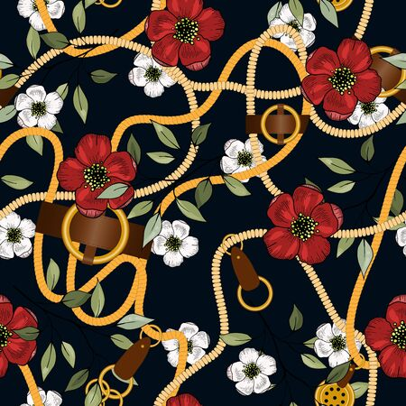 Ð¡hain seamless vector pattern on dark background with fashion floral design. Vintage gold jewelry of necklace and rustic ropes, tassels and belts with leaves and red white flowers
