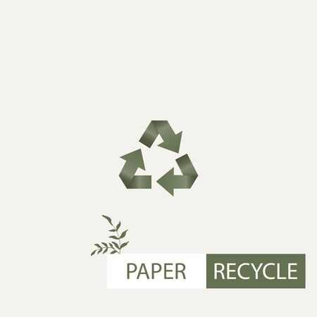 Concept of global garbage reuse, reduce, paper recycle vector banner. Green circular isolated arrows or icon image. Abstract template design. Eco, bio and nature protection graphic elements with plant