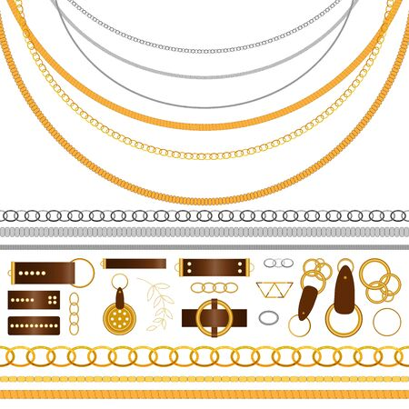Big set of the belt, chain, braid elements, seamless brushes in realistic style on white background. Graphic metal vector collection with golden and silver objects for your design, ornament and texture Vettoriali