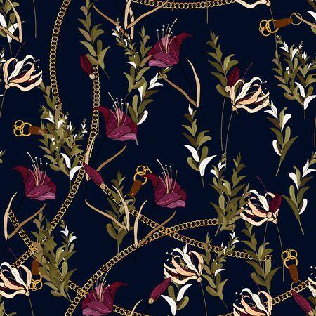 Modèle sans couture de chaîne de mode avec bijoux en or, ceintures en cuir, boucles et corde. Collier en métal baroque réaliste, pendentif avec fleurs exotiques, lys. Conception de vecteur d'écharpe dessinée à la main et fond floral