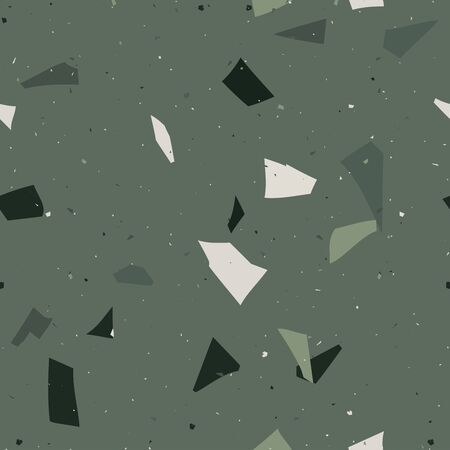 Flooring venetian terrazzo seamless pattern. Natural realistic stone imitation, marble confetti background. Vector green, emerald surface texture of granite, concrete, mosaic tile, pebbles, quartz shape.