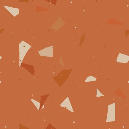Flooring venetian orange terrazzo seamless pattern. Natural realistic stone imitation, marble confetti background. Vector surface texture of granite, concrete, pastel mosaic tile, pebbles, quartz shape. 矢量图像