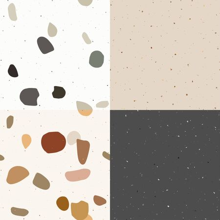 Black, green and pastel  terrazzo seamless pattern in modern style on white background. Flooring venetian wall. 