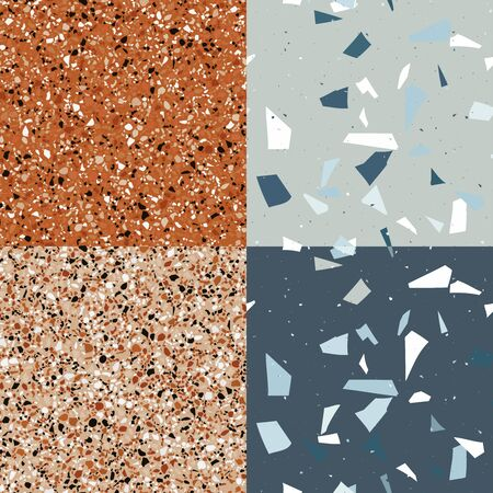 Orange and blue, grey terrazzo set seamless pattern in modern style on grey background. Flooring venetian wall. Abstract stone print. Vector surface texture of granite, concrete, mosaic tile, brown pebbles, quartz shape.