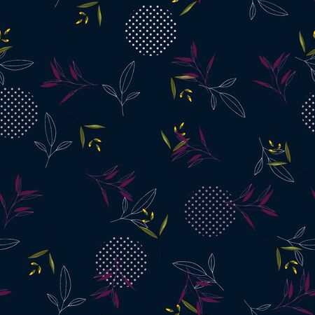 Modern memphis pattern with hand drawn wild pink flowers and green leaves on dark blue background. Geometric seamless print polka dots design vector illustration