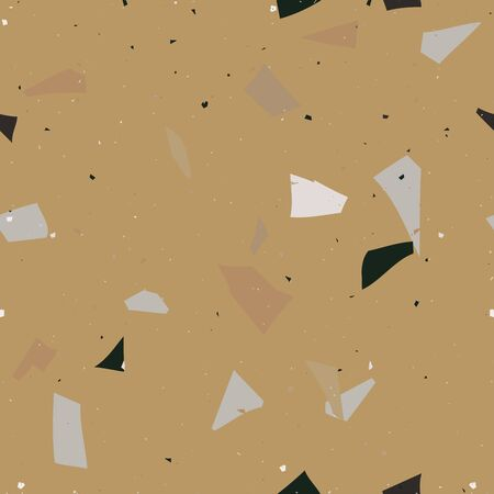 Yellow and grey terrazzo seamless pattern in modern style on brown background. Flooring venetian wall. Abstract stone print. Vector surface texture of granite, concrete, mosaic tile, pebbles, quartz shape.
