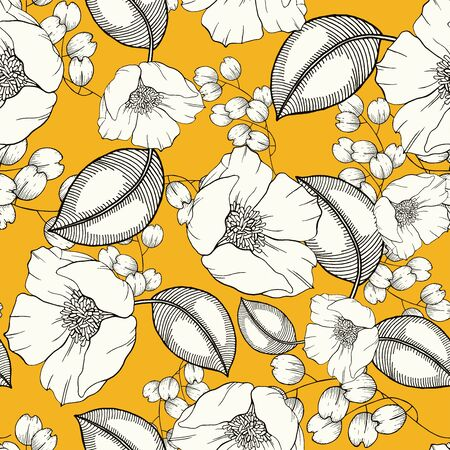 Rustic vintage green leaves and hand sketched flowers seamless pattern on yellow background. Botanical vector illustration of painted small floral template and outline drawing elements for textile, fashion, fabric, web, wallpaper, wrapping, cover.