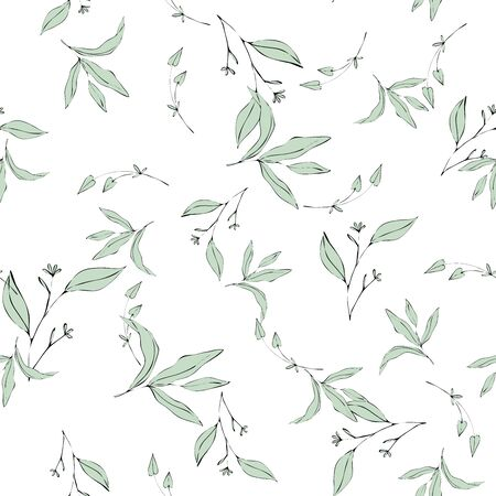 Vector tropical leave wallpaper. Modern abstract garden floral or botanical illustration on white backdrop. Summer mint flowers and foliage, seamless pattern in hand drawn style