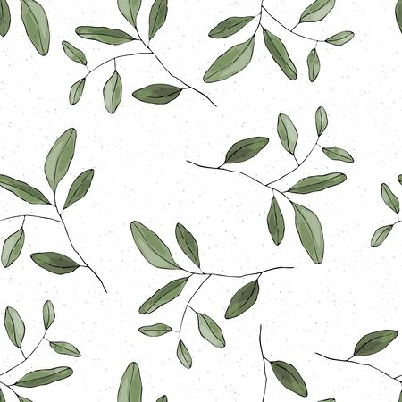 Nature terrazzo mosaic flower background greenery seamless pattern in hand drawn style. Vector foliage with jungle tropical leaf. Botanical hipster, rustic print on chaotic stain, tile surface. Çizim