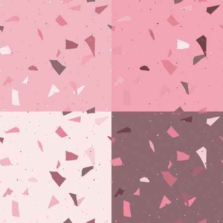 Pink and red terrazzo seamless pattern in modern style on white background. Flooring venetian wall. 