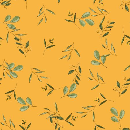 Rustic vintage green leaves and  hand sketched flowers seamless pattern on yellow background. Botanical vector illustration of painted small floral template and outline drawing elements