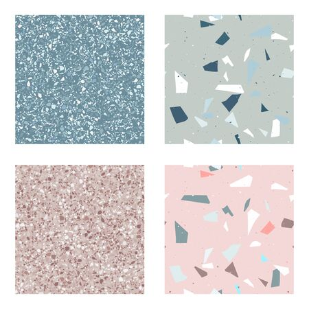 Blue and pink , green terrazzo seamless pattern in modern style on white background. Flooring venetian wall. 