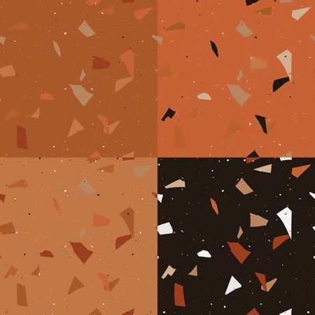 Orange, brown and yellow terrazzo seamless pattern in modern style  background. Flooring venetian wall. 