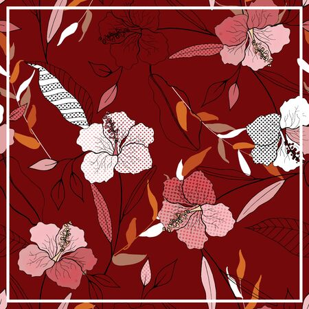 Scarf pattern seamless red floral print. Wallpaper blooming realistic isolated flowers lily hand drawn vintage background. Vector illustration for textile, fashion, fabric, web, wallpaper, wrapping, cover