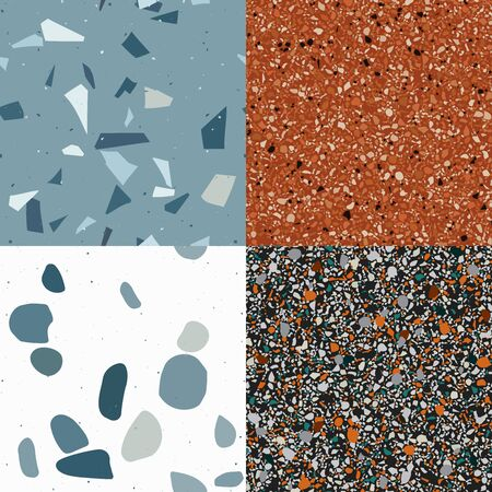 Orange, black and blue terrazzo seamless pattern in modern style background. Flooring venetian wall. 