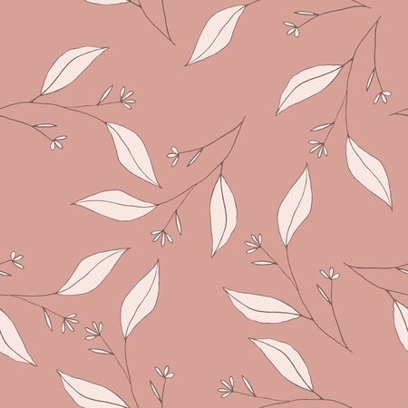Pink pastel blooming  Flowers. Realistic isolated seamless floral pattern on vintage background. Hand drawn wallpaper botanical print.  Vector illustration. Çizim
