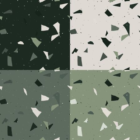 Green and emerald terrazzo set seamless pattern in modern style on grey background. Flooring venetian wall. 