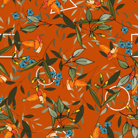 Orange pastel blooming Flowers lily with green leaves. Realistic isolated seamless floral pattern for textile, fashion, fabric, wallpaper, wrapping. Hand drawn wallpaper botanical print. Vector illustration. Illustration