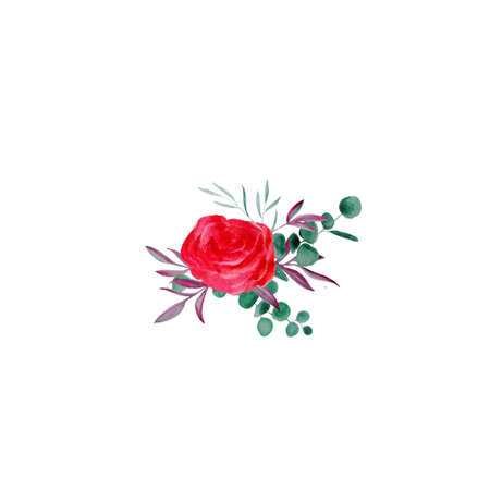 Vintage watercolor boutonniere of red roses and eucalyptus. Hand drawn illustration. Isolated pink blossom on white background for holiday frame, invitation border. Stock Photo