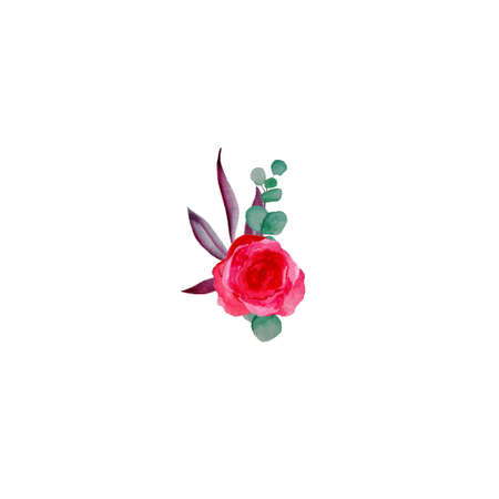 Vintage watercolor boutonniere of red roses and eucalyptus. Hand drawn illustration. Isolated pink blossom on white background for holiday frame, invitation border. Stockfoto