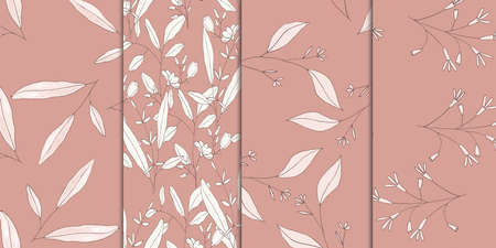 Seamless botanical pink blossom pattern set. Retro abstract cards with pastel color floral prints. Vector. Illustration