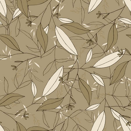 Nature floral background greenery pattern in hand drawn watercolor style. Vector khaki foliage with jungle tropical leaf and summer flowers. Botanical hipster, rustic seamless print for wedding cards. Illustration