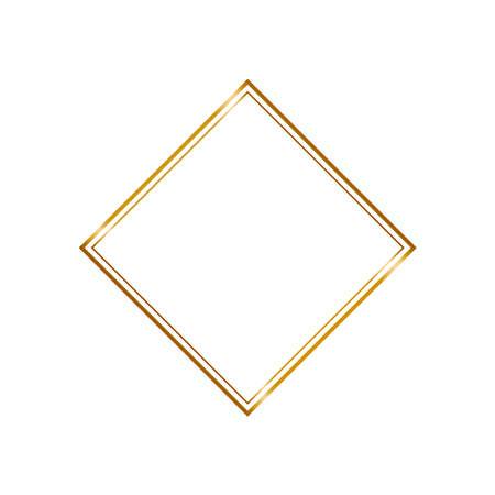 Golden rhombus frame in vintage style on white background. Line art crystal elegant border for decorative design. Isolated vector illustration. Light effect for wedding invitation card.