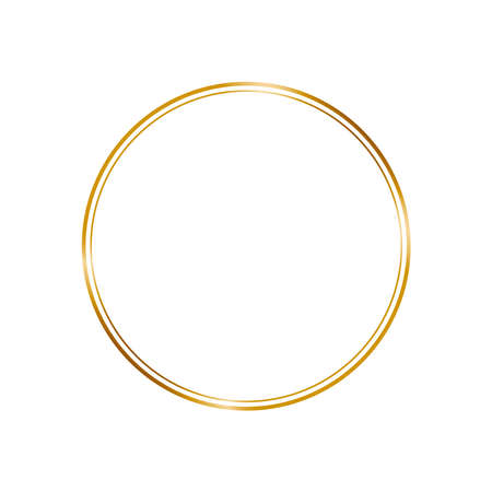 Golden frame in vintage style on white background. Line art elegant round border for decorative design. Isolated vector illustration. Light crystal effect for wedding invitation card.