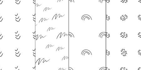 Abstract cover design of black and white backdrop. Modern doodle pattern template. Vector monochrome illustration Stock Illustratie