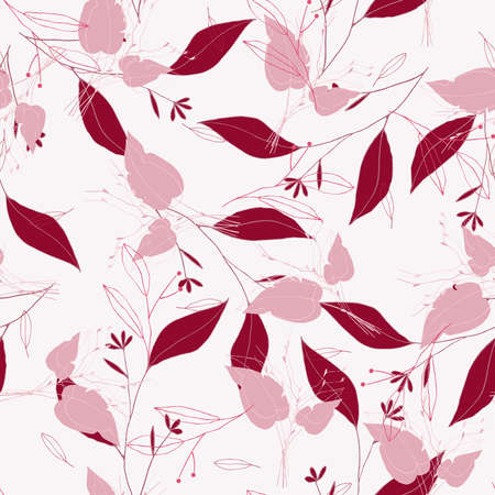 Rustic vintage pink leaves and hand sketched flowers seamless pattern on white background. Botanical vector illustration of painted small floral template and outline drawing elements for textile, fashion, fabric, wrapping. Illustration