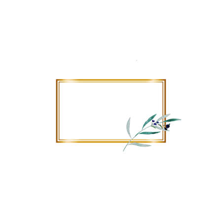 Boho greeting card template with watercolor green branch frame on white background and golden geometric shape for invitation wedding design. Floral hand drawing illustration