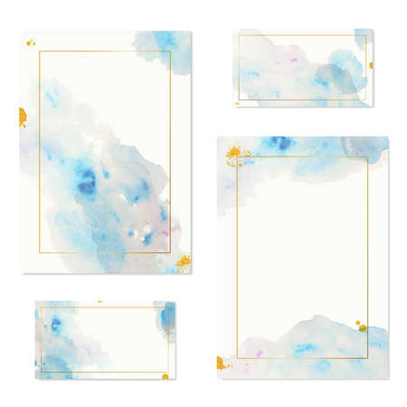 Gold frame and blue watercolor blot in modern style on white background. Hand drawn creative design., Set Beautiful romantic marble pattern.