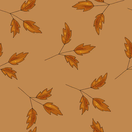Fall seamless pattern. Autumn leaves, orange, yellow, brown colors. Vector illustration