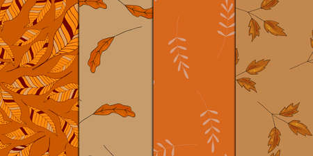 Fall seamless patterns set. Autumn leaves, orange, yellow, brown colors. Vector illustration Vectores