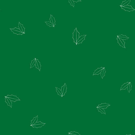 Green winter pattern in modern style. Simple design, graphic element. Floral vector Xmas celebration