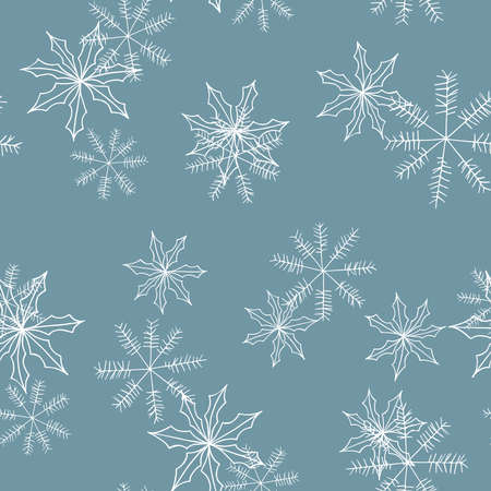 Blue winter pattern in modern style. Simple design, graphic element. Floral vector Xmas celebration