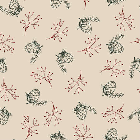 Vintage winter pattern in modern style. Simple design, graphic element. Floral vector Xmas celebration