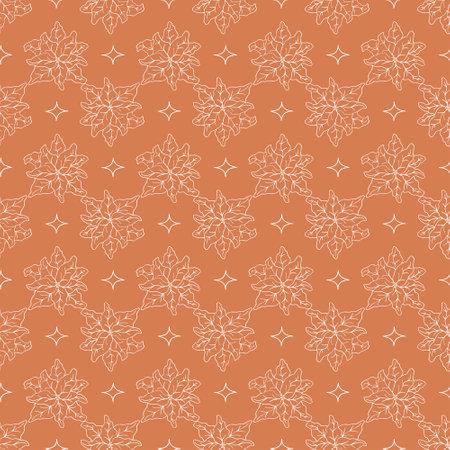 Trendy orange winter pattern in modern style. Simple design, graphic element. Floral vector Xmas celebration