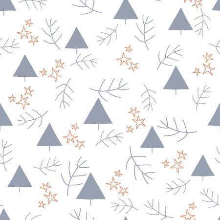 Blue, orange winter pattern in modern style. Simple design, graphic element. Floral vector Xmas celebration Ilustrace