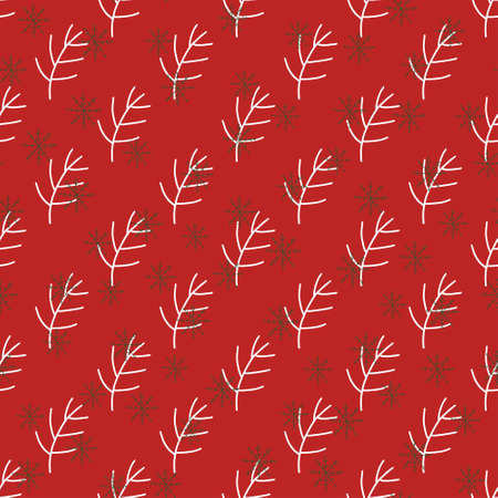 Red winter pattern in modern style. Simple design, graphic element. Floral vector Xmas celebration Ilustrace