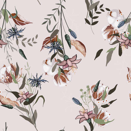 Pink pastel blooming Flowers lily with green leaves. Realistic isolated seamless floral pattern for textile, fashion, fabric, web, wrapping. Hand drawn wallpaper botanical print. Vector illustration. Illustration