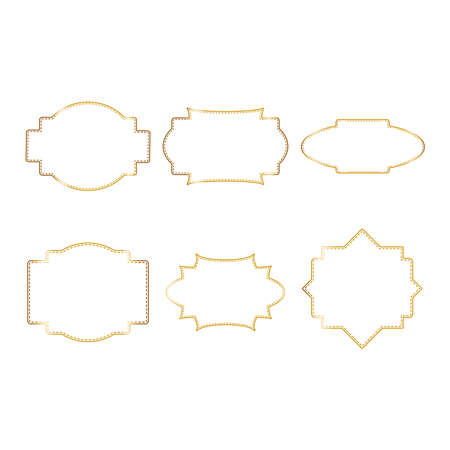 Vintage golden frame set, great design for any purposes. Abstract gold art banner, poster, greeting card. Trendy retro vector ornament template.