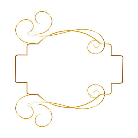 Vintage golden frame, great design for any purposes. Abstract gold art banner, poster, greeting card. Trendy retro vector ornament template.